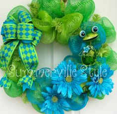Happy Frog Blue and Green Deco Mesh Wreath by SummervilleStyle, $61.00