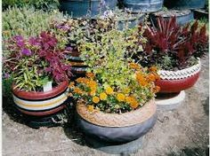 Pottery planters made from tires. learn how at tirecrafting.com