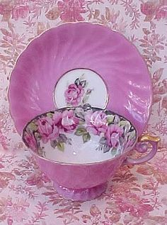 Pink floral cup and saucer (etsy)