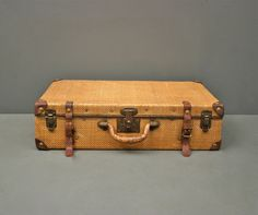Antique Suitcase Bamboo and Woven Wicker Basket by HippopoVintage ...