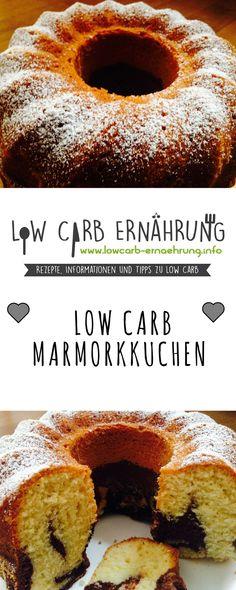 Low Carb Rezept für einen leckeren Marmorkuchen ohne Zucker und mit wenig Kohlenhydraten. Low Carb, zuckerfrei und einfach und schnell zum Nachbacken. Perfekt zum Abnehmen.