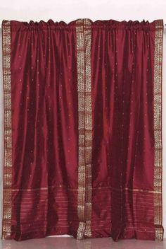 Maroon Rod Pocket Sheer Sari Curtain / Drape / Panel - Pair (Matching Lining 43 X 84 Inches X 213 Cms) - 84 Inches), Red, Indian Selections( Cafe Curtains, Sheer Curtains, Window Curtains, Drapery, Home Based Work, Curtain Sets, Rod Pocket, Home Decor Outlet, Home Decor Items