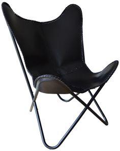 Vlinderstoel leer zwart