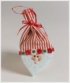 Decoupage - Santa Ornament using paper mâché heart
