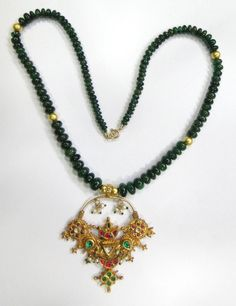 Vintage antique solid 20K Gold jewelry Natural Emerald beads necklace pendant    eBay
