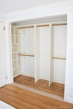 Door Ideas: 3 Unique Ways to Dress Up Bedroom Closet Doors! Love seeing the transformation of this closet! So many closet door ideas to steal in this post!Love seeing the transformation of this closet! So many closet door ideas to steal in this post! Modern Closet Doors, Bedroom Closet Doors, Bedroom Closet Design, Closet Designs, Sliding Door Closet, Small Closet Design, Small Master Closet, Entryway Closet, Bedroom Bed
