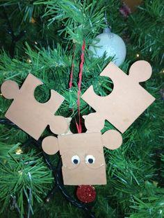 DIY Reindeer Ornament using puzzle pieces...