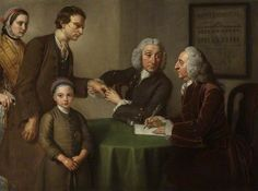 """Dr. Oliver y Mr. Peirce examinando pacientes con parálisis, reumatismo y lepra (""""Dr. Oliver and Mr. Peirce, the first physician and surgeon examining patients afflicted with paralysis, rheumatism and leprosy""""). William Hoare. 1761. Localización: Royal National Hospital for Rheumatic Diseases (Avon, Reino Unido). https://painthealth.wordpress.com/2015/11/25/dr-oliver-y-mr-peirce-examinando-pacientes-con-paralisis-reumatismo-y-lepra/"""
