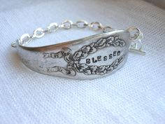 Blessed Hand Stamped Spoon Handle ID Style Bracelet with toggle clasp. $32.00, via Etsy.