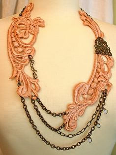 I have hand-dyed this beautiful venice lace to form the focal point of my necklace. Soft and flattering vintage rose appliques are artfully draped with antiqued brass chain and accented with a few tiny beads. It is stunning worn alone, or have fun pairing it with any number of my other necklaces as shown in the photos ~tinaevarenee