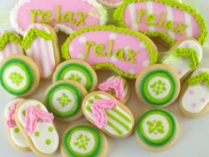 Love these cookies! cute for a spa party Spa Party Cakes, Spa Cake, Spa Day Party, Girl Spa Party, Pamper Party, Cupcake Party, Birthday Cupcakes, Salon Party, Birthday Party Decorations For Adults