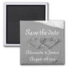 Save the date magnet | Drawn hearts in beach sand Save the date magnet | Drawn hearts in beach sand. Romantic black and white photo near the sea. Personalizable with wedding date and name of bride & groom. Romance / marriage theme design. Entwined hearts drawing with elegant script text.