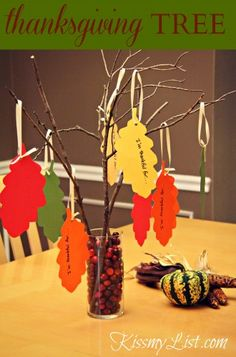 Thanksgiving tree - easy DIY craft to do with kids. Table centerpiece, home decor