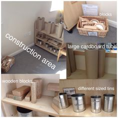 My construction area. Includes wooden blocks, tubes, tins. Each week a different basket of materials will be added. This week we have mirror blocks.