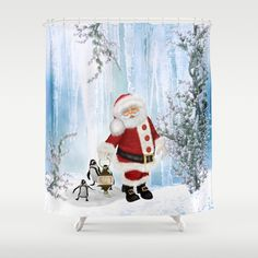 Santa Claus with funny penguin Shower Curtain by