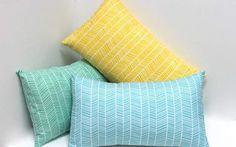 Modern chevron herringbone design 12x20 Lumbar accent pillow cover blue - yellow - mint home decor