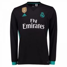 6b16a1a64 Real Madrid adidas Away Replica Patch Blank Long Sleeve Jersey - Black