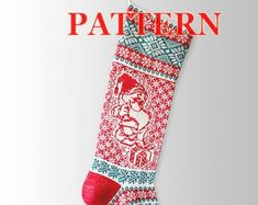 Etsy :: Your place to buy and sell all things handmade Knitted Christmas Stocking Patterns, Knitted Christmas Stockings, Xmas Stockings, Christmas Knitting, Santa Stocking, Fair Isle Knitting, Christmas Deer, Scandinavian Christmas, Knitting Patterns