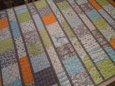 Baby Quilt, Modern Baby Quilt - Backyard Baby Boy Quilt - Gray Grey Aqua Orange Quilt