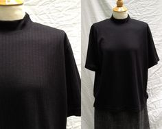 Plus size 1980s Womens Black Polyester Blend Ribbed Mock Turtleneck top with short sleeves, Size L Made in Mexico by HiddenTreasureHunter on Etsy