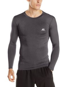 4e272a678 Russell Athletics Men's Compression Long Sleeve Top Black Heather XX-Large  #black #heather