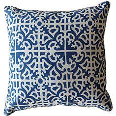 Dress up your decor with this decorative outdoor pillow from Jiti Pillows. Crafted by artisans in the United States, this soft pillow features a Malibu pattern with blue and white hues.
