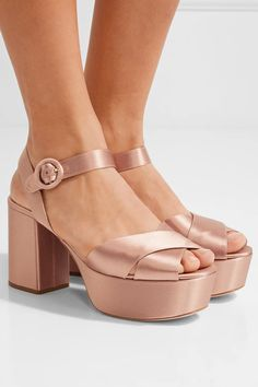 Heel measures approximately 90mm/ 3.5 inches with a 40mm/ 1.5 inches platform Blush satin Buckle-fastening strap Made in Italy