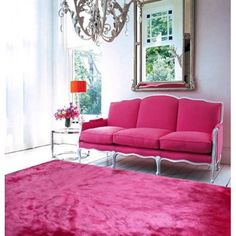Modern Rug Design, Contemporary Rugs and Floor Decor Styles Pink Couch, Pink Rug, Pink Settee, Pink Fabric, Living Spaces, Living Room, Small Living, Modern Living, Modern Couch
