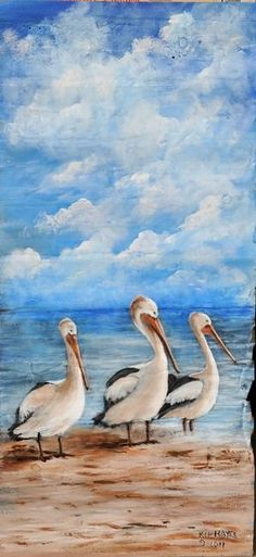"""""""Louisiana Pelicans Wildlife Painting Busy Bodies"""" by Kip Hayes"""