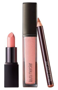 Get the perfect pretty-in-pink pout with this color-coordinated trio of lip shades by Laura Mercier.