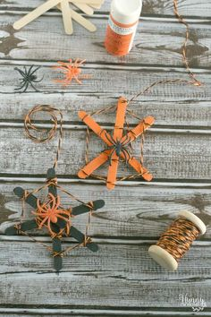 Kids Halloween Craft – Popsicle Stick Spider Web Crafts For Teens To Make, Crafts To Sell, Easy Crafts, Diy And Crafts, Kids Crafts, Spider Web Craft, Spider Crafts, Spider Webs, Homemade Halloween Decorations