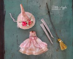 Pink witch doll costume Doll Costume, Costumes, Gnomes, Doll Clothes, Witch, Apple, Dolls, Christmas Ornaments, Sewing