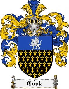 Cook Coat of Arms / Family Crest from Ireland www.4crests.com #coatofarms #familycrest #familycrests #coatsofarms #heraldry #family #genealogy #familyreunion #names #history #medieval #codeofarms #familyshield #shield #crest #clan #badge #tattoo