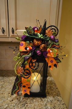 Whimsical Witch Hat Lantern Swag by kristenscreations on Etsy Halloween Lanterns, Easy Halloween Decorations, Halloween Trees, Halloween Home Decor, Halloween Projects, Halloween House, Holidays Halloween, Halloween Pumpkins, Cage Deco