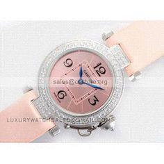 Emulational latest ladies #watches #Cartier Pasha c pink dial Swarovski #diamond bezel diamond Saudi copies