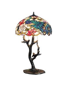 Cooper Branch Blue Tiffany Art Table Lamp