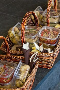 Individual picnic baskets ..... Great idea for small intimate outdoor boho reception. Just add cushions and string fairy lights