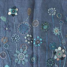 Sophie Digard Linen Flower Stole / Navy - taste&touch ウェブショップ: