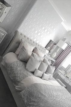 A Stunning Design brought to you by I Love Wallpaper Glamorous Grey Silver and a lot of sparkle This Wallpaper will suit any Living Area ilovewallpaper wave geometric wallpaper Homedecor Home # Silver Bedroom, Feature Wall Bedroom, Wallpaper Living Room, Grey Wallpaper Bedroom, Farm House Living Room, Bedroom Design, Gray Master Bedroom, Apartment Living Room, Master Bedroom Wallpaper