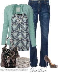 """blue cardigan"" by stacy-gustin on Polyvore"