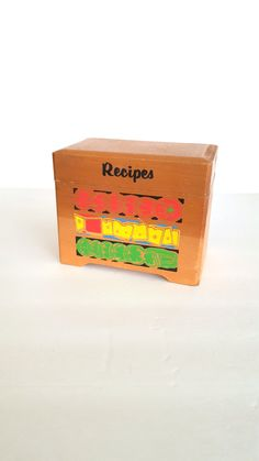 Wood Recipe File Box Vintage Food Graphics Made for NEVCO in Japan by Pesserae on Etsy