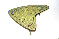 Mosaic table fifties boomerang shape - unique: One of the most beautiful mosaic tables ever. Probably made in the werkstatt of Berthold Muller in . Mosaic Art, Mosaic Tables, Outdoor Blanket, Shapes, Rugs, Unique, Language, Furniture, Home Decor