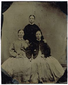 Three Pretty Young Ladies Dresses and Coats 1860's Tintype