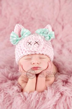 child pig hat // spring hat // new child photograph prop // piggy hat // pink // child lady hat // animal hat // OINK // child lady photograph prop // bows - Crochet Baby Hats, Crochet Beanie, Crochet For Kids, Knit Crochet, Baby Crochet Patterns, Free Crochet, Baby Girl Hats, Girl With Hat, Baby Bows