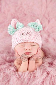 Newborn pig hat .. spring hat .. newborn photo prop .. piggy hat .. pink .. baby girl hat .. animal hat .. NEWBORN SIZE. $36.00, via Etsy.