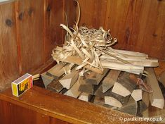 Feathersticks, kindling and matches