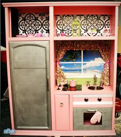 entertainment center into kid kitchen. SO CUTE!