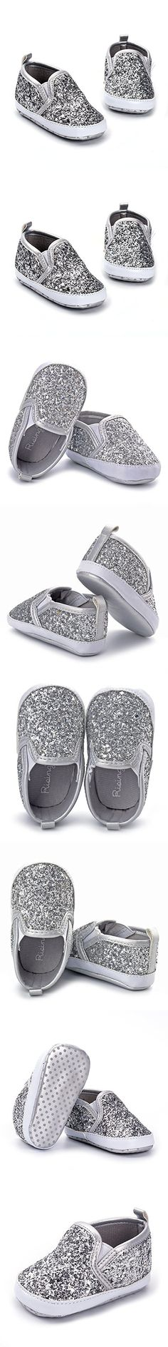 ღ¸.•❤ ƁҽႦҽ ღ .¸¸.•*¨*• Enteer Baby Girls' Bling Loafers Shoes Silver US 3
