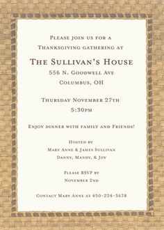 Panama Basketweave Border Invitations