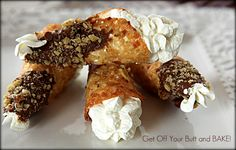 Chocolate Dipped Cream Horns with Walnuts & Almond Whipped Cream